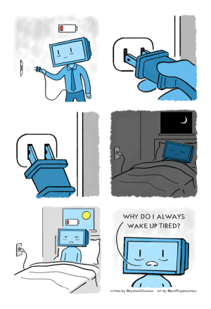 Recharging [Collab with ProlificPenComics]: WHY DOI ALWAYS  WAKE UP TIRED?  written by@system32comics  art by @prolificpencomics Recharging [Collab with ProlificPenComics]