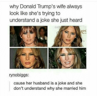 ( @memeposts1 ): why Donald Trump's wife always  look like she's trying to  understand a joke she just heard  Got  (ES  rynobiggs:  cause her husband is a joke and she  don't understand why she married him ( @memeposts1 )