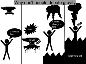 Fake, Reddit, and Gravity: Why don't people debate gravity  Climate  change is  fake  OUCH!  BAM  Gravity is  fake  Told you  So  OUCH!  Told you so Climate change
