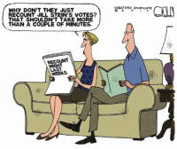WHY DON'T THEY JUST  RECOUNT JILL STEIN'S VOTES?  THAT SHOULDNT TAKE MORE  THAN A COUPLE OF MINUTES.  RECOUNT  LAST  CREATORS SYNDICATE  CON  2. Ha!  http://townhall.com/political-cartoons/2016/11/29/146784