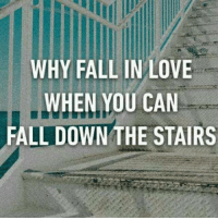Fall: WHY FALL IN LOVE  WHEN YOU CAN  FALL DOWN THE STAIRS