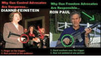 Memes, Control, and Ron Paul: Why Gun Control  Advocates  Why Gun Freedom Advocates  Are Dangerous...  Are Responsible...  DIANNE FEINSTEIN  RON PAUL  ETOOHOOSE NIT  1. Hand nowhere near the trigger  1. Finger on the trigger  2. Gun not pointed at any person  2. Gun pointed at the aiadience