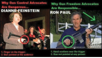 Lol, Memes, and Control: Why Gun Control Advocates  Why Gun Freedom Advocates  Are Dangerous..  Are Responsible...  DIANNE FEINSTEIN  RON PAUL  ETOCHOOSE NET NETWORK  1. Hand nowhere near the trigger  1. Finger on the trigger.  2. Gun not pointed at any person  2. Gun pointed at the audience LOL! ~B.H.