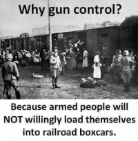 Important history lesson.: Why gun control?  Because armed people will  NOT willingly load themselves  into railroad boxcars. Important history lesson.