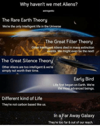 Are we alone in the universe?: Why haven't we met Aliens?  astrogeekaz  The Rare Earth Theory  We're the only Intelligent life in the Universe  The Great Filter Theory  Other Intelligent Aliens died in mass extinction  events. We might even be the next!  The Great Silence Theory  Other Aliens are too intelligent & we're  simply not worth their time.  Early Bird  Life first began on Earth. We're  the most advanced beings.  Different kind of Life  They're not carbon based like us.  In a Far Away Galaxy  They're too far & out of our reach. Are we alone in the universe?