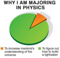 Lightsaber, Memes, and How To: WHY I AM MAJORING  IN PHYSICS  To increase mankind's  To figure out  how to build  understanding of the  a lightsaber  universe