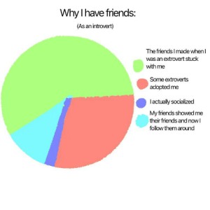 Chart I made, think it's pretty accurate.: Why I have friends:  (As an introvert)  The friends I made when I  was an extrovert stuck  with me  Some extroverts  adopted me  lactually socialized  My friends showed me  their friends and nowl  follow them around Chart I made, think it's pretty accurate.