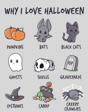 Candy, Cats, and Creepy: WHY I LOVE HALLOWEEN  PUMPKINS  BATS  BLACK CATS  RIP  4HoSTS  SKULLS GRAVEYARDS  CREEPY  CRAWLIES  CoSTUMES  CANDY 🧡🖤🧡🖤🧡🖤🧡🖤🧡🖤🧡🖤🧡🖤