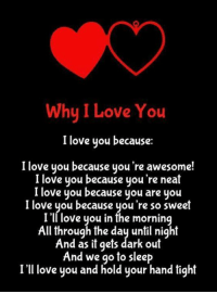 i love you because: Why I Love You  I love you because  I love you because you're awesome!  I love you because you're neat  love you because you are you  I love you because you're so sweet  I'll love you in the morning  All through the day until night  And as it gets dark out  And we go to sleep  I'll love you and hold your hand tight