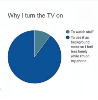 Funny, Lol, and Phone: Why I turn the TV orn  To watch stuff  To use it as  background  noise so I feel  less lonely  while I'm on  my phone Tag a lonely person lol 👇🏼