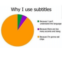 Funny, Memes, and Chips: Why I use subtitles  Because I can't  understand the language  Because there are too  many accents and slang  ■ Because I'm gonna eat  chips SarcasmOnly