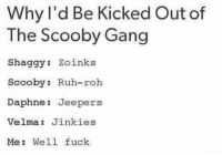 Funny, Shit, and Gang: Why I'd Be Kicked Out of  The Scooby Gang  Shaggy: Zoinks  Scooby: Ruh-roh  Daphne: Jeepers  Velma: Jinkies  Me: Well fuck Btw this van is a piece of shit.