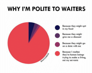 We have to respect the waiters: WHY I'M POLITE TO WAITERS  Because they might spit  in my food  Because they might  give me a discount  Because they might go  on a date with me  Because I realize  they're human beings  trying to make a living,  not my servants  13ns We have to respect the waiters