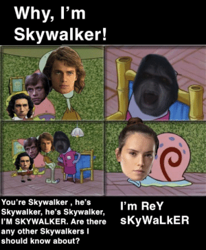 Keeping up with the Skywalkers: Why, I'm  Skywalker!  You're Skywalker , he's  Skywalker, he's Skywalker,  I'M SKYWALKER. Are there  any other Skywalkers I  I'm ReY  sKyWaLkER  should know about? Keeping up with the Skywalkers