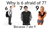 Why Is 6 Afraid Of 7: Why is 6 afraid of 7?  2TOND  Because 7 ate 9