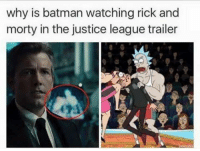 rick: why is batman watching rick and  morty in the justice league trailer