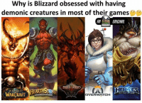 """Why is Blizzard obsessed with having  demonic creatures in most of their games  AN  ORIGINAL  BLO  WORLD  WARCRAFT  HE STORM  OFT  DVERWATCH  HEROES WARCRAFT """"When hell freezes over"""" has a new meaning.  -Yuki"""