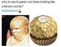Memes, 🤖, and Cee Lo Green: why is cee lo green out there looking like  a ferrero rocher?  #GRAMMYs  FERRERO  ROCHER Lol