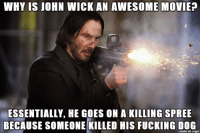 john wick: WHY IS JOHN WICK AN AWESOME MOVIE?  ESSENTIALLY, HE GOES ON A KILLING SPREE  BECAUSE SOMEONE KILLED HIS FUCKING DOG  made on imgur