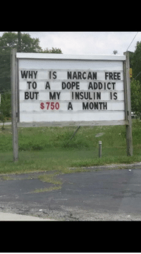 Dope, Omg, and Tumblr: WHY IS NARCAN FREE  TO A DOPE ADDICT  BUT MY INSULIN IS  $750 A MONTH omg-humor:  If this isn't the right thread then I don't know what is.