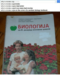 Wtf Nicolas Cage?: why is nicolas cag  why is nicolas cage broke  why is nicolas cage a bad actor  why is nicolas cage in so many bad movies  why is nicolas cage on the cover of a serbian biology textbook  broke  СМИ1ЬКА СТЕВАНОВИЋ-ПИШТЕЬИЋ  КАТИИА ПАУНОВИЋ  БИОЛОГИЈА  за 8. разред основне школе Wtf Nicolas Cage?