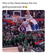 Doing him dirty 💀😂 - Follow @_nbamemes._: Why is Pau Gasol always the one  getting posterized  NBAMEMES Doing him dirty 💀😂 - Follow @_nbamemes._
