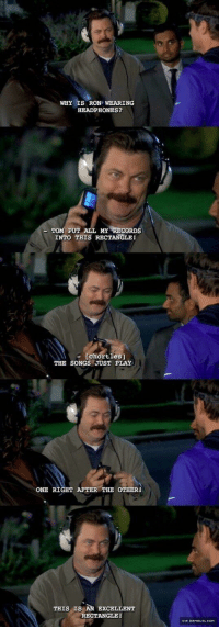 "Ron Swanson, Headphones, and Http: WHY IS RON WEARING  HEADPHONES?  PUT ALL MY RECORDS  INTO THIS RECTANGLE  chortles]  THE SONGS JUST PLAY  ONE RIGHT AFTER THE OTHER  THIS IS AN EXCELLENT  RECTANGLE!  VIA DAMNL ◇L.OOM <p>Ron Swanson is a fountain of wholesomeness via /r/wholesomememes <a href=""http://ift.tt/2s2kmKR"">http://ift.tt/2s2kmKR</a></p>"