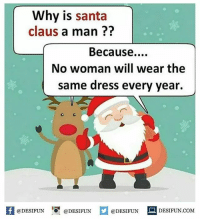 Twitter: BLB247 Snapchat : BELIKEBRO.COM belikebro sarcasm meme Follow @be.like.bro: Why is santa  claus a man??  Because....  No woman will wear the  same dress every year  1  @DESIFUN @DESIFUN  @DESIFUN  DESIFUN.COMM Twitter: BLB247 Snapchat : BELIKEBRO.COM belikebro sarcasm meme Follow @be.like.bro