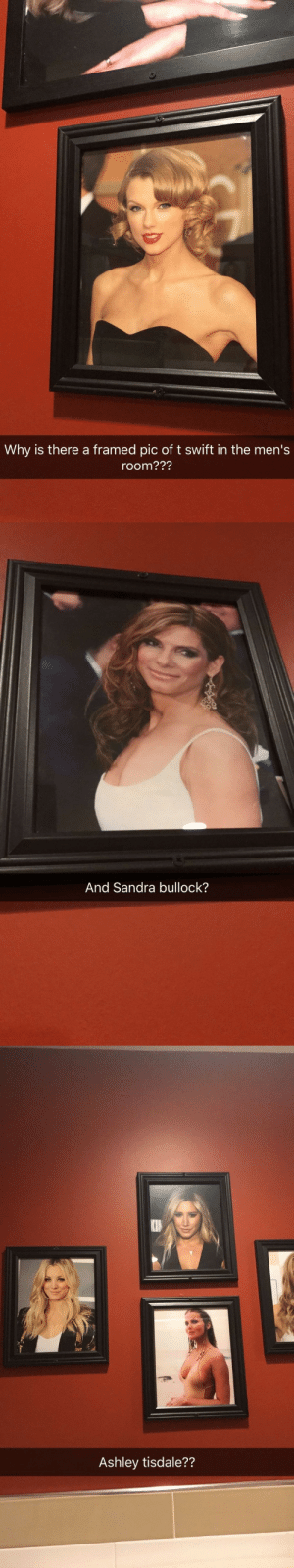 Tumblr, Blog, and Sandra Bullock: Why is there a framed pic of t swift in the men's  room???   And Sandra bullock?   Ashley tisdale?? zackisontumblr:  weirdest men's room i've ever been in