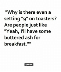 """Ash, Memes, and Yeah: """"Why is there even a  setting """"9"""" on toasters?  Are people just like  """"Yeah, I'll have some  buttered ash for  breakfast.""""""""  EEFY"""