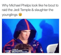 I don't like sand. It's coarse and rough and irritating and it gets everywhere.: Why Michael Phelps look like he bout to  raid the Jedi Temple & slaughter the  younglings  COMING UP  FINAL I don't like sand. It's coarse and rough and irritating and it gets everywhere.