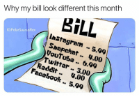 Facebook, Memes, and Reddit: Why my bill look different this month  BİLL  lnStagram .. 5.99  Snapchat . 4.00  youTube .. 6.99  Twitter .. 3.00  IG:PolarSaurusRex  Reddit.. 4.00  . 5.99  Facebook I'm milking these memes whilst I can