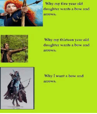 Memes, Arrow, and World: Why my five year old  daughter wants a bow and  arrows.  Why my thirteen year old  daughter wants a bow and  arrows.  Why I want a bow and (y) Fantasy and Sci-Fi Rock My World
