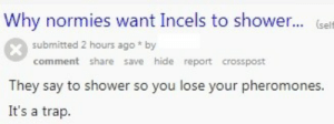 Incels: Why normies want Incels to shower... (sel  submitted 2 hours ago * by  comment share save hide report crosspost  They say to shower so you lose your pheromones  It's a trap.