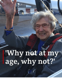 "Anaconda, Life, and Memes: Why not at my  age, why not?' ""I just fancied it"" – 99-year-old Olwyn took to the skies in a glider, for first time in her life. 🙌 😄 She wanted to prove that age has no boundaries and to inspire others – tap the link in our bio 👆to find out more. She's vowed to repeat the feat when she turns 100. flying inspire glider glying instagood bbcnews"