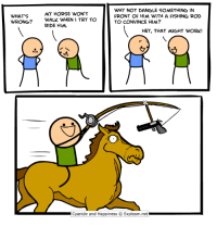 http://www.twitter.com/daveexplosm: WHY NOT DANGLE SOMETHING IN  FRONT OF HIM WITH A FISHING ROD  TO CONVINCE HIM?  MY HORSE WON'T  WHAT'S  WRONG?  WALK WHEN I TRY TO  RIDE HIM  HEY, THAT 씨GHT WORK!  Cyanide and Happiness © Explosm.net http://www.twitter.com/daveexplosm