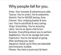 Chill, Cute, and Fall: Why people fall for you  Aries: Your honesty & adventurous side  Taurus: You're smart, hot & seductive.  Gemini: You're NEVER boring. Ever.  Cancer: Your undying loyalty & love.  Leo: You're sacrificial & very caring  Virgo: Everything. You're amazing.  Libra: You're so damn chill & fun.  Scorpio: Everything about you is perfect.  Sagittarius: You're so savage but cute.  Capricorn: You're not afraid of going  after anything you want.  Aquarius: Stuck up & Flirty yet adorable  and innocent, lovable.  Pisces: You have a pure soul & heart.