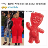 But y tho 😂🤣🤣😭 metgala: Why Pharell wife look like a sour patch kid  @xanaxandchill  G: But y tho 😂🤣🤣😭 metgala