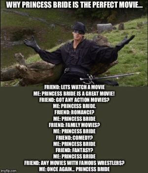 I mean. it's not wrong: WHY PRINCESS BRIDE IS THE PERFECT MOVIE...  FRIEND: LETS WATCH A MOVIE  ME:PRINCESS BRIDE IS A GREAT MOVIE!  FRIEND: GOT ANY ACTION MOVIES?  ME:PRINCESS BRIDE  FRIEND:ROMANCE?  ME: PRINCESS BRIDE  FRIEND: FAMILY MOVIES?  ME:PRINCESS BRIDE  FRIEND:COMEDY?  ME:PRINCESS BRIDE  FRIEND: FANTASY?  ME:PRINCESS BRIDE  FRIEND: ANY MOVIES WITH FAMOUS WRESTLERS?  ME:ONCE AGAIN PRINCESS BRIDE  imgflip.com I mean. it's not wrong