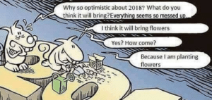 Reap what you sow. Posted by a friend's mom on fb: Why so optimistic about 2018? What do you  Uthink it will bring?Everything seems so messed up  I think it will bring flowers  Yes? How come?  Because I am planting  flowers Reap what you sow. Posted by a friend's mom on fb