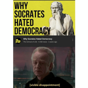 Life, School, and Democracy: WHY  SOCRATES  HATED  DEMOCRACY  4:22  Why Socrates Hated Democracy  THE  SCHOOL  OF LIFE  The School of Life 4.3M views 2 years ago  [visible disappointment] My allegiance is to the republic, to democracy
