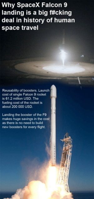 Bailey Jay, Future, and Flight: Why SpaceX Falcon 9  landing is a big f#cking  deal in history of human  space travel  Reusability of boosters. Launch  cost of single Falcon 9 rocket  is 61.2 million USD. The  fueling cost of the rocket is  about 200 000 USD  Landing the booster of the F9  makes huge savings in the cost  as there is no need to builo  new boosters for every flight. WERE LIVING THE FUTURE BOYS!