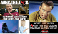 """Logic dictates that ANYTHING that requires goods and services to manifest CANNOT be """"free""""!: WHY THE  DO INMATES GET FREE FOOD,  BUT SCHOOL KIDS DON'T  BECAUSE,,  NOTHING'S """"FREE"""" YOU SILLY  F KTARD! THESE FREE G00DS AND  SERVICES ARE PAID FOR BY SOMEBODY  they're  DUMBING Logic dictates that ANYTHING that requires goods and services to manifest CANNOT be """"free""""!"""