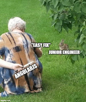 """""""why the fuck are we still using angularjs"""" - every junior we hire: """"why the fuck are we still using angularjs"""" - every junior we hire"""