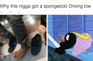 Driving, SpongeBob, and Drive: Why this nigga got a spongebob Driving toe DAE drive like this?