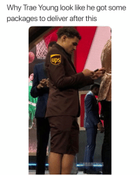 Basketball, Nba, and Sports: Why Trae Young look like he got some  packages to deliver after this  UDS  up Ups😂 nba nbamemes nbadraft