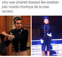 <p>He wanna be Esteban so bad (via /r/BlackPeopleTwitter)</p>: why was pharrell dressed like esteban  julio ricardo montoya de la rosa  ramireZ <p>He wanna be Esteban so bad (via /r/BlackPeopleTwitter)</p>