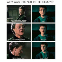 Whyyy😂: WHY WAS THIS NOT IN THE FILM????  Is It true/that you shouted  at professor Umbridge  Yes...  You called her a liar?  Well, yes-  Have a biscuit, Potter  Have- What? Whyyy😂