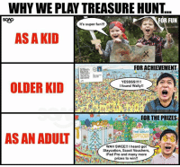 """Christmas, Ipad, and Memes: WHY WE PLAY TREASURE HUNT..  SGAG  FOR FUN  It's super fun!!!  AS A KID  : 我  FOR ACHIEVEMENT  OLDER KID  I found Wally!!  FOR THE PRIZES  THE GREAT  CHRISTMAS  GIFT HUNT  AS AN ADULT  WAH SWEE!! I heard got  Staycation, Scoot Vouchers,  iPad Pro and many more  prizes to win!! These treasure hunt games <link in bio> are really like """"Where's Wally"""" but BETTER!!!"""