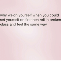 Fire, Parents, and Girl Memes: why weigh yourself when you could  set yourself on fire then roll in broken  glass and feel the same way I judge my weight by my parents reactions whenever they see me